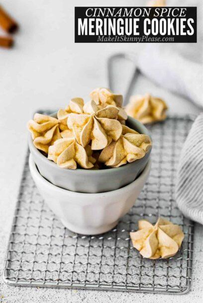 cinnamon meringue cookies in bowl with title overlay